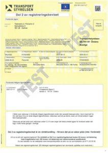 Szwedzki dowód rejestracyjny żółty
